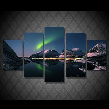 Dazzling Northern Lights aurora mountain reflection over lake wall art canvas print
