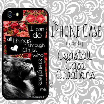 Roses Lion and Cross Philippians 4:13 Quote Apple iPhone 4 4G 4S 5G Hard Plastic Cell Phone Case Cover Original Trendy Stylish Design