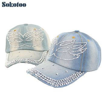 Sokotoo Women's fashion wings rhinestone baseball cap Lady's casual denim hat Female Free shipping