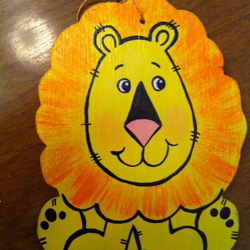 Lion handpainted wooden Christmas ornament or gift tag. Free personalization