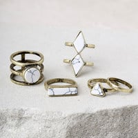 Trend Topper White and Gold Ring Set