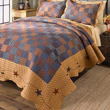Quilted Country Stars Patchwork Bedding Set Coordinates