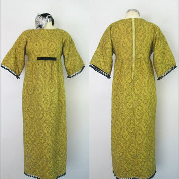 1960s Quilted Lounging Maxi Dress // Empire Waist Yellow Black Pom Pom Fringe Robe