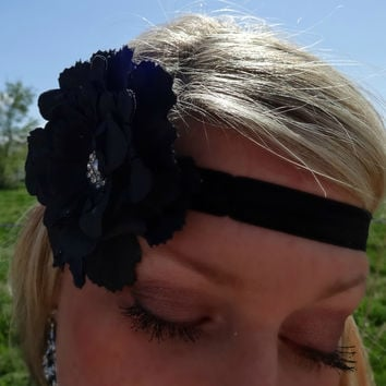 Country Girl Flower Headband - Black