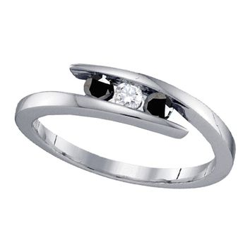 Sterling Silver Womens Round Black Color Enhanced Diamond 3-stone Bridal Wedding Engagement Ring 1/4 Cttw