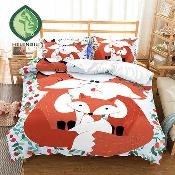 HELENGILI 3D Bedding Set cartoon Fox Print Duvet cover set bedclothes with pillowcase bed set home Textiles #ET-19