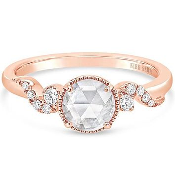 Kirk Kara Rose Cut Whimsical Swirl Rose Gold Diamond Engagement Ring