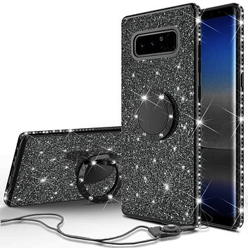 Samsung Galaxy Note 8 Case, Glitter Cute Phone Case Girls with Kickstand,Bling Diamond Rhinestone Bumper Ring Stand Sparkly Luxury Clear Thin Soft Protective Samsung Galaxy Note 8 Case for Girl Women - Black