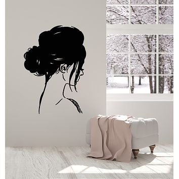 Vinyl Wall Decal Girl Head Profile Hairstyle Sketch Modern Stickers Mural (g1825)