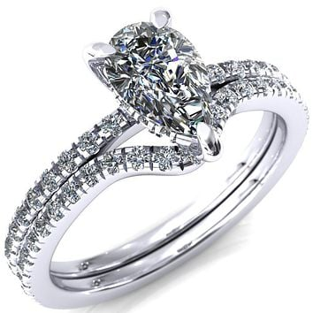Mayeli Pear Moissanite 3 Claw Prong Micro Pave Diamond Sides Engagement Ring
