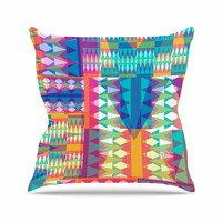 "Miranda Mol ""Triangle Quilt"" Multicolor Geometric Outdoor Throw Pillow"