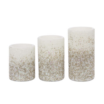 Set of 3 Silver LED Candles