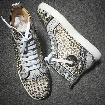 Cl Christian Louboutin Louis Spikes Style #1852 Sneakers Fashion Shoes