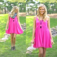 Crochet All Day Dress in Hot Pink