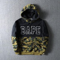ca spbest Men's Camouflage Shark Bape A Bathing Ape Casual Hoodie
