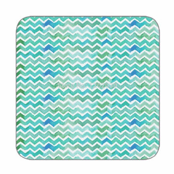 Coaster set of 4 in geometry pattern in green color for Print coasters Designer coasters