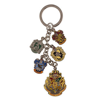 Universal Studios Harry Potter Hogwarts House Crest Charm Keychain New W Tags