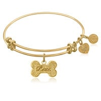 Expandable Bangle in Yellow Tone Brass with Dog Bone Symbol