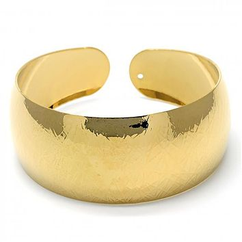 Gold Layered 07.165.0007 Individual Bangle, Diamond Cutting Finish, Golden Tone (25 MM Thickness, One size fits all)