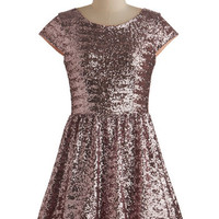 ModCloth Statement Cap Sleeves A-line Shimmer and Sparkle Dress