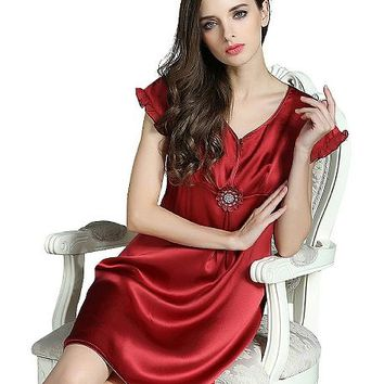 Round Collar Silk Nightgown With Short Sleeves