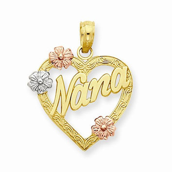 14K Tri Color Gold Nana in Heart Flower Pendant