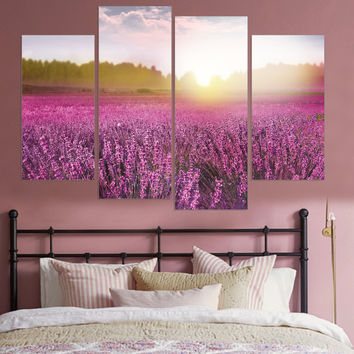 Hot Frameless Lavender Canvas Art Poster Provence Landscape Home Decor Oil Painting for Living Room (5 Color Availble) 4 Pieces
