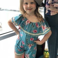 GIRLS ROMPER WITH PRINTED COW SKULL