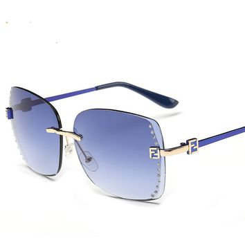 Rimless Sunglasses Rhinestones Women Oversized Blue Gradient Mirror Fashion Luxury Womans Brand Colored Vintage Sun Glasses