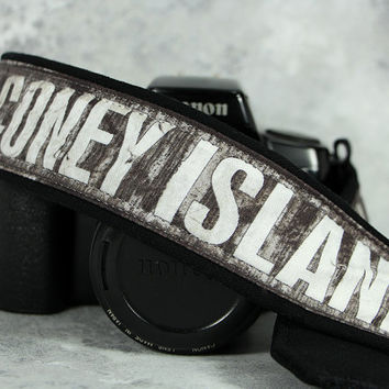 Subway Signs dSLR Camera Strap, Coney Island Bay, Urban Explorer,  Grunge, Pocket, Quick Release, Canon Camera Strap, Nikon, SLR, 208