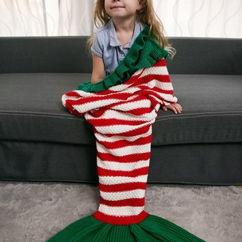 Ruffles Edge Striped Crochet Knit Mermaid Blanket Throw For Kids