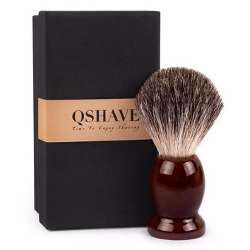 Qshave Man Pure Badger Hair Shaving Brush Wood 100% for Razor Double Edge Safety Straight Classic Safety Razor 9.9cm x 4.6cm