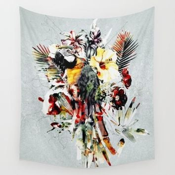 PARROT IV Wall Tapestry by RIZA PEKER