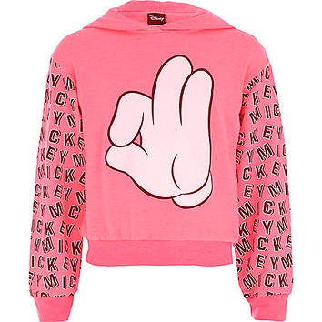 River Island Girls pink Mickey hands print sweatshirt