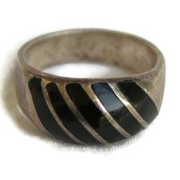 Vintage Black Onyx Dome Band Ring Men's Ring Woman's Ring Unisex Ring