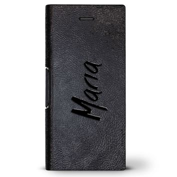 Maria, Hand-Written First Name | Leather Series case for iPhone 8/7/6/6s in Hickory Black