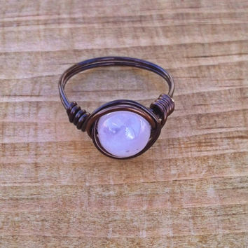 Rose Quartz Wire Ring, Natural Stone Bead Hippie Rings, Dark Brown and Light Pink Nontarnish Copper Ring, Genuine Stone Heart Chakra Ring