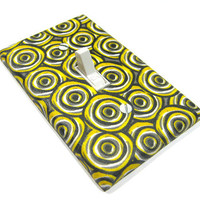 Gray and Yellow Spirals Light Switch Cover Black by ModernSwitch