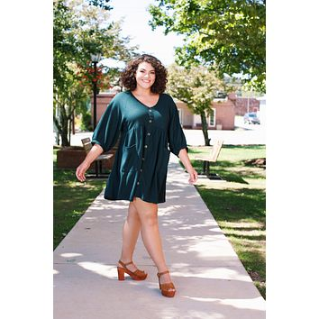 Talia Thermal Button Dress, Forest Green | Plus Size