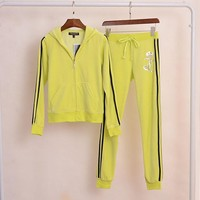 Juicy Couture Sequin Crown Jc Velour Tracksuit 2pcs Women Suits Yellow