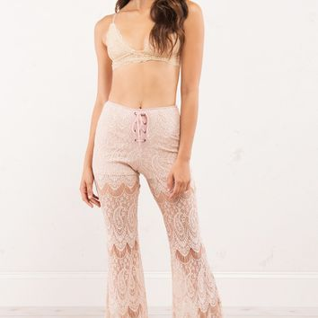 Lace See Through Wide Leg Pants with Lace Up Detail and Shorts in Nude
