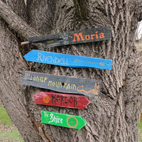 Lord of the Rings and The Hobbit Wooden Directional Sign 5 Pack - Made to Order