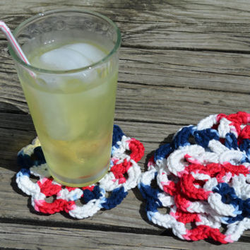 Crochet coasters, Red White and Blue, Set of 4, 100% cotton, Eco-friendly, for hot and cold beverages