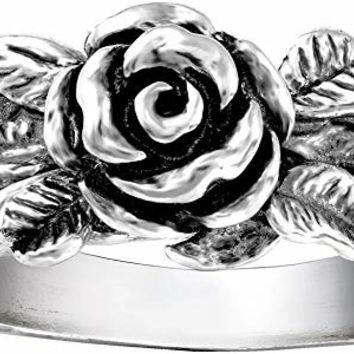 Paz Creations .925 Sterling Silver Rose Flower Ring