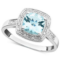 14k White Gold Ring, Aquamarine (1-1/3 ct. t.w.) and Diamond Accent Ring - Rings - Jewelry & Watches - Macy's