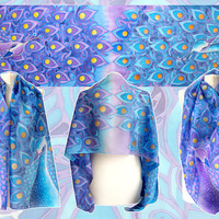 Peacock scarf - hand painted scarf - silk scarf peacock - silk scarves - blue scarf - purple scarf - foulard - art nouveau
