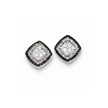 Sterling Silver Antique White & Black Diamond Post Earrings