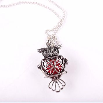 Owl Locket Aromatherapy Diffuser Pendant Necklace Jewelry