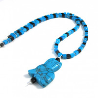 Turquoise Howlite Black Stone Cat Pendant Necklace Beaded Necklace