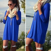 blue long sleeve dress sweater for women